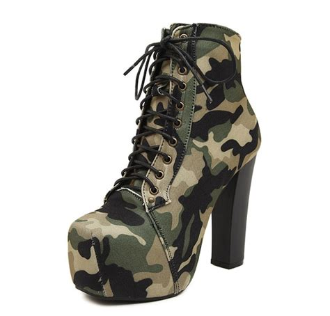Camouflage Lace High Heel Women Boots Square Cotton Army