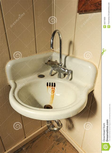 Old Sink With Rusty Basin In Corner Stock Image - Image