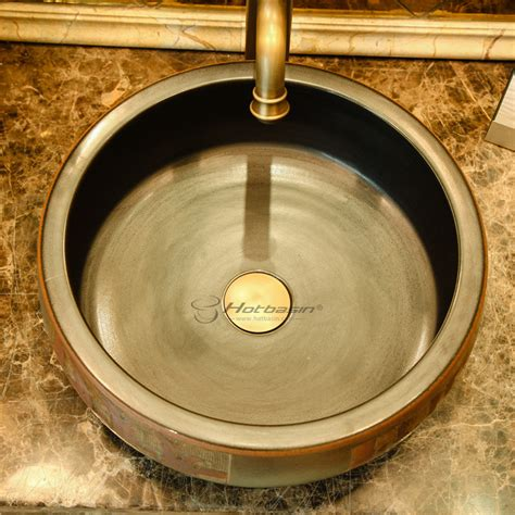 Antique Bronze Round Shaped Ceramic Vessel Sink Without Faucet
