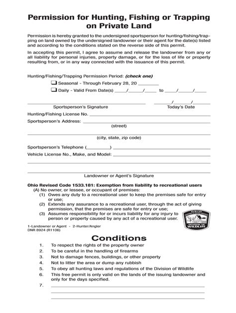 Ohio Hunting Permission Slip - Fill Out and Sign Printable