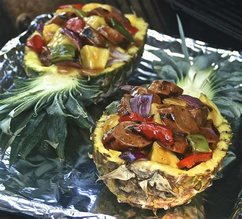 Grilled Stuffed Pineapple with Sausage, Peppers, Red Onion