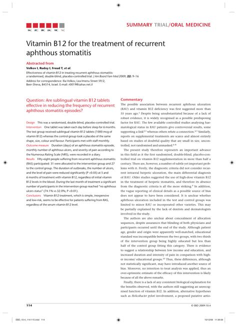 (PDF) Vitamin B12 for the treatment of recurrent aphthous