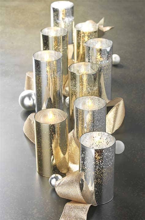 Moving Flame 6 Inch Gold Mercury Glass Flameless Cylinder