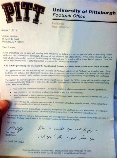 What college football scholarship letters look like: The