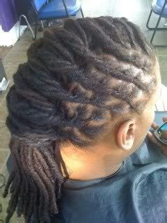 dreadlocks or locs wrapped french roll hairstyle
